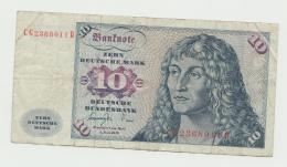 Germany 10 Deutsche Mark 1977 AVF+  Banknote Pick 19 - [ 7] 1949-… : FRG - Fed. Rep. Of Germany