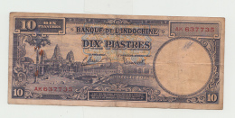 French Indochina 10 Piastres ND 1947 VF Banknote Pick 80 - Indochine