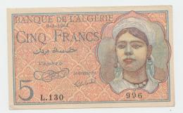 Algeria 5 Francs 8-2-1944 XF+ AUNC Banknote Pick 94a 94 A - Algeria