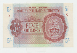 BRITISH MILITARY AUTHORITY 5 SHILLINGS 1943 AUNC+ Pick M4 - Military Issues