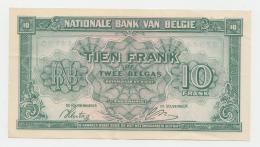 Belgium 10 Francs 1943 VF++ CRISP Banknote Pick 122 - [ 2] 1831-... : Royaume De Belgique