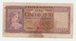 Italy 500 Lire 1961 VG Pick 80b 80 B - [ 1] …-1946 : Reino