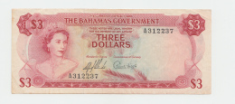 "BAHAMAS 3 DOLLARS L. 1965 ""F+"" Pick 19a 19 A - Bahamas"