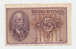 ITALY 5 LIRE 1944 AUNC PICK 28 - [ 1] …-1946 : Kingdom