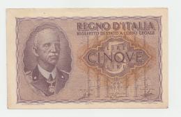 ITALY 5 LIRE 1944 XF - AUNC PICK 28 - [ 1] …-1946 : Kingdom