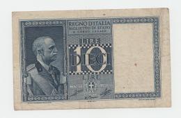 ITALY 10 Lire 1939 AVF P 25c 25 C - [ 1] …-1946 : Koninkrijk