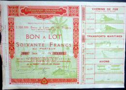 BON A LOT  DE SOIXANTE FRANCS  EXPOSITION COLONIALE DE 1931 BIEN ILLUSTREE - Transports