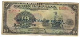 Bolivia 10 Bs. 1911 (resello) Series F, See Scan, Used But Good Grade,  Free Ship. To USA. - Bolivia