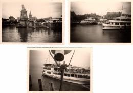 3 Photos Originales Allemagne - Ile De Lindau - 88131 - 1951 Entrée Du Port Avec Le Phare Et La Statue De Lion & Bateaux - Lieux