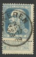 Belgium,  25 C. 1905, Sc # 87, Mi # 73, Used. - 1905 Thick Beard