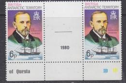 """British Antarctic Territory  1980 6p Value Perf. 12 Otto Nordenskjold """"Antarctic""""  1v  Gutter """"1980** Mnh (30139C) - Brits Antarctisch Territorium  (BAT)"""