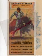 13 - ARLES - AFFICHE ARENES- CORRIDA- 16 AOUT 1970- PEDRIN BENJUMEA-ANTONIO LOMELIN-FERNANDO TORTOSA -AVEC PLAN VILLE - Afiches