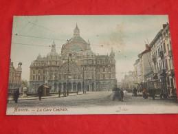 ANTWERPEN -  ANVERS  - Centraal Station     -  La  Gare Centrale  -  1905     -  (2 Scans) - Antwerpen