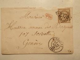 Marcophilie  Cachet Obliteration Timbre  - MIRECOURT  Destination SUISSE  N°56 - GC 2370 - 18/08/1873 (520/521) - Marcophilie (Lettres)