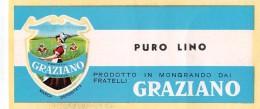 """04317 """"GRAZIANO - PURO LINO - MONGRANDO""""  ETICHETTA ORIGINALE PER FILATI/TESSUTI - LORIGINAL LABEL FOR THREADS - Adesivi"""