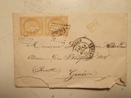 Marcophilie  Cachet Obliteration Timbre  - LYON  Destination SUISSE  Paire N°55 - GC 6320 - 14/08/1875 (524/525) - Marcophilie (Lettres)