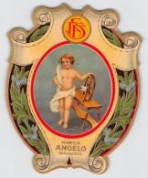 """04319 """"MARCA ANGELO DEPOSITATA""""  ETICHETTA ORIGINALE PER FILATI/TESSUTI - LORIGINAL LABEL FOR THREADS - Adesivi"""