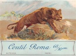 "04325 ""COUTIL ROMA 68/70CM - LEONE""  ETICHETTA ORIGINALE PER FILATI/TESSUTI-LORIGINAL LABEL FOR THREADS - Adesivi"