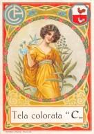 """04326 """"TELA COLORATA C - FIGURA FEMMINILE""""  ETICHETTA ORIGINALE PER FILATI/TESSUTI-LORIGINAL LABEL FOR THREADS - Adesivi"""