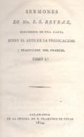 UNIQUE EN INTERNET - EN LIBRO PROHIBIDO POR LA IGLESIA CATOLICA SERMONES DE E.S. REYBAZ AÑO 1804 TOMO 1  SALAMANCA - Religion & Occult Sciences