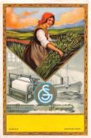 "04329 ""FIGURA FEMMINILE-NAVE-TRENO-TESSITRICE""  ETICHETTA ORIGINALE PER FILATI/TESSUTI  - LORIGINAL LABEL FOR THREADS - Adesivi"
