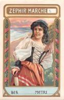 "04332 ""ZEPHIR MARCHE - FIGURA FEMMINILE""  ETICHETTA ORIGINALE PER FILATI/TESSUTI  - LORIGINAL LABEL FOR THREADS - Adesivi"