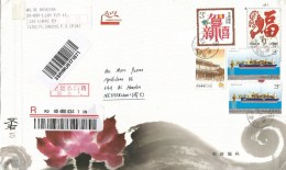 China 2016 Tianjin Oil Drilling Ship Fish Buddhism SAL Barcoded Registered Postal Stationary Cover - 1949 - ... République Populaire