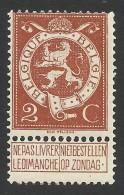 Belgium,  2 C. 1912, Sc # 93, Mi # 90, MH - 1912 Pellens
