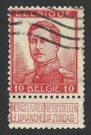 Belgium,  10 C. 1912, Sc # 103a, Mi # 100II, Used - 1912 Pellens