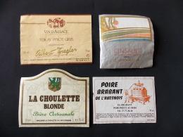 Lot 4 Etiquettes Poiré Brabant De L Avesnois Cinsault 1992 Tokay Pinot Gris Bière Artisanale La Choulette Blonde - Collections & Sets