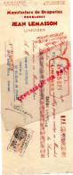 87 - LIMOGES - TRAITE  JEAN LEMASSON - MANUFACTURE DRAPERIES DOUBLURES- 4 RUE TURGOT- 1935 - Factures & Documents Commerciaux