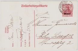 """1918, """" Zivilarbeiter-Postkarte """" Feldpost  , #5801 - [OC26/37] Terr. Etapes"""
