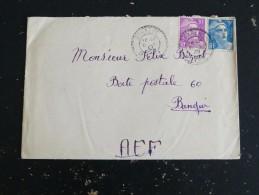 CORRENS - VAR - CACHET ROND MANUEL PERLE SUR MARIANNE GANDON POUR BANGUI AEF CENTRAFRIQUE - Marcophilie (Lettres)