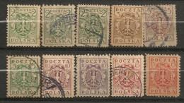 Timbres - Pologne - 1919 - Lot De 10 Timbres -
