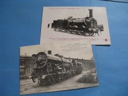 """2 BELLES CARTES POSTALES LOCOMOTIVES """"PACIFIC"""" & MACHINE 636 COMPAGNIE OUEST 1910 ROUEN CHEMINS DE FER TRAINS - Trains"""