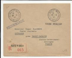 1945 - POCHE ALLEMANDE De ST NAZAIRE - ENVELOPPE RECOMMANDEE Avec  TAXE PERCUE De BATZ SUR MER - Poststempel (Briefe)