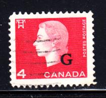 Canada Used Scott #O48 4c Queen Elizabeth II Cameo - ´G´ Overprint - Officials