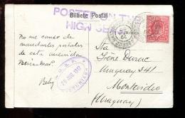 LTR1 Carte Postale Posted On The Hight Seas,,R.M.S.P.1917 Asturias,  Rio De Janeiro Pour L´Uruguay (2 Scans) - Other (Sea)