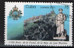 CUBA - 2001 - SAN MARINO - 1700° ANNIVERSARIO DELLA REPUBBLICA - USATO - Used Stamps