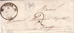 DROME - NYONS - T12 - 8-10-1835 - LETTRE AVEC TEXTE ET SIGNATURE POUR ORANGE - TAXE 2 MANUSCRITE. - Postmark Collection (Covers)