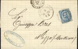 1881-Italia Piego Con Testo Diretto In Francia Affrancato 25c. Umberto I Annullo A Linee Di Chiavari - 1878-00 Humbert I