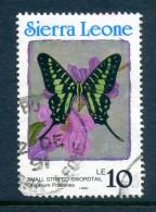 Sierra Leone 1991 Butterflies - 1990 Imprint Date - 10Le Small Stripped Swordtail Used (SG 1665) - Sierra Leone (1961-...)