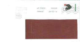 """ENVELOPPE AVEC TIMBRE  LETTRE VERTE ANNEE 2016 """"THEME LES COQS"""" OBLITERE - France"""