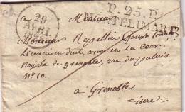 DROME - P.25.P. MONTELIMART - 29-4-1828 - LETTRE AVEC TEXTE ET SIGNATURE - INDICE 12 - COTE 100€. - Marcophilie (Lettres)