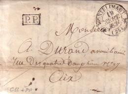 DROME - MONTELIMART -T12 LE 19-9-1834 - PP DANS RECTANGLE - AVEC TEXTE PARTIEL. - Marcophilie (Lettres)