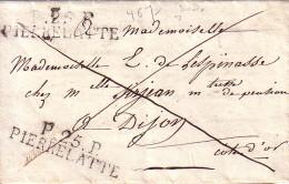 DROME - P.25.P PIERRELATTE -2 FRAPPES - LETTRE DE BOURG ST ANDEOL LE 9 FEVRIER ??  - INDICE 13  - COTE120€ - Marcophilie (Lettres)