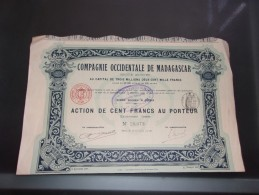 COMPAGNIE OCCIDENTALE DE MADAGASCAR  (1910) Imprimerie RICHARD - Shareholdings