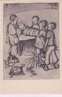 CARD TARTARUGA-TORTUE  UCCELLINI NATIVITA' GESU' BAMBINO AFRICA ADORATO DA BIMBI DI COLORE.    -FP -N-2-0882-25320 - Tortugas