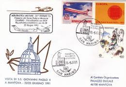 1991-San Marino Aerogramma Visita S.S.Paolo II A Mantova Trasporto Effettuato Con DC9 Tratta Ciampino-Villafranca E Con - Brieven En Documenten