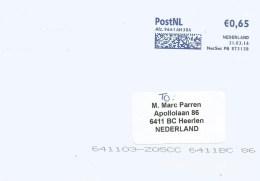 Netherlands Nederland 2016 Alteveer Meter Franking Frankeermachine Pitney Bowes PB 873138 EMA Cover - Marcofilie - EMA (Print Machine)